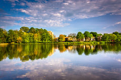 Evening reflections at Wilde Lake in Columbia, Maryland. Royalty Free Stock Photography
