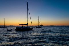 Evening relaxing time on sailing boat Royalty Free Stock Photos
