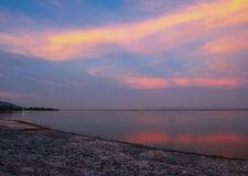 Evening reservoir and orange sky The beauty of the country is suitable for relaxation. Evening reservoir and orange sky The beauty of the country is suitable Royalty Free Stock Images
