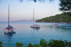 Evening rest of the yachts in a picturesque Bay Stock Photo