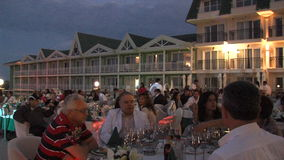Evening on the restaurant`s outdoor terrace in the hotel complex in Kranevo, Bulgaria stock video footage