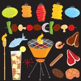 Evening Retro Barbecue Party stock illustration