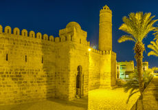 The evening Ribat. The ancient citadel in bright evening lights, Sousse, Tunisia Stock Photography