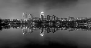 Evening on the river Kalmius. Donetsk. Ukraine bw Royalty Free Stock Photos