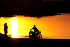 Evening river. Photo Stream evening The simple lifestyle of people in Thailand and Laos Stock Image