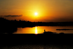 Evening river. Photo Stream evening The simple lifestyle of people in Thailand and Laos Royalty Free Stock Photography