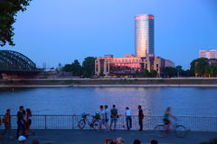 Evening at the River of Rhine in Cologne Royalty Free Stock Photo