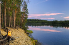 Evening on the River Umba. Royalty Free Stock Images