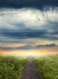 Evening road in steppe to sunset Royalty Free Stock Photos