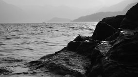 Evening rocky beach on a cloudy day. stock footage