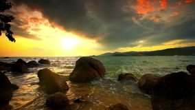 Evening rocky beach on a cloudy day. Thailand. Koh Samui stock video footage