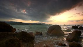Evening rocky beach on a cloudy day. Thailand stock video footage