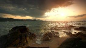 Evening rocky beach on a cloudy day. Thailand. Koh Samui stock footage