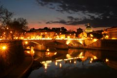 Evening Rome #3. View on evening Rome and Vatican city Royalty Free Stock Photos