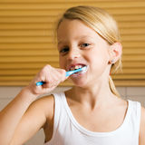 Evening routine - brushing teeth Royalty Free Stock Photo