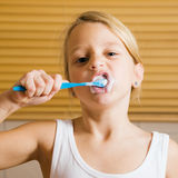 Evening routine - brushing teeth Stock Photo