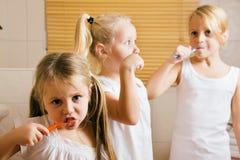 Evening routine - brushing teeth Royalty Free Stock Photos