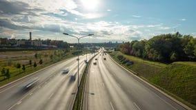 Evening ruch drogowego na autostradzie, upływ zdjęcie wideo