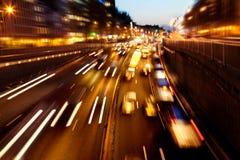 Evening ruch drogowy. Miast światła. Ruch plama. Zdjęcie Stock