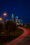 Evening Rush Hour Commute In Charlotte, North Carolina2. The top of the tallest tower in Charlotte, North Carolina lit up green in support of our military taken Royalty Free Stock Image