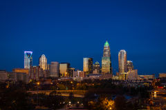 Evening Rush Hour Commute In Charlotte, North Carolina 5. The top of the tallest tower in Charlotte, North Carolina lit up green in support of our military taken Royalty Free Stock Photography