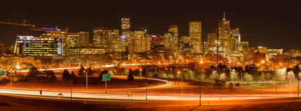 Evening Rush-Hour at Downtown Denver. Denver, Colorado, USA - December 09, 2015: A panoramic view of evening rush-hour at west-side of Downtown Denver, with its Royalty Free Stock Photo