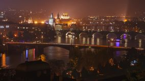 Evening rush hour on the river. Evening rush hour on the Vltava River in Prague stock footage