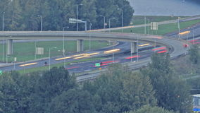 Evening Rush Hour Traffic on Interstate 205 Bridge across the Columbia River Light Trail Time Lapse stock video