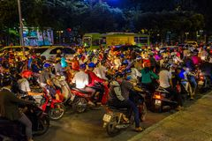 Evening rush hour in Vietnam. An extremely busy rush hour in downtown Ho Chi Minh City, Vietnam Stock Images