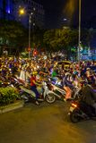 Evening rush hour in Vietnam. An extremely busy rush hour in downtown Ho Chi Minh City, Vietnam Royalty Free Stock Photos