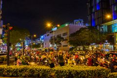 Evening rush hour in Vietnam. An extremely busy rush hour in downtown Ho Chi Minh City, Vietnam Stock Image
