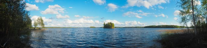 Evening at saimaa lake. In finland stock images