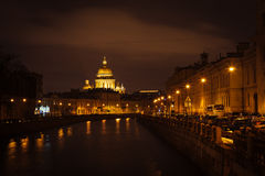The evening Saint Isaac's Cathedral in St Stock Photos