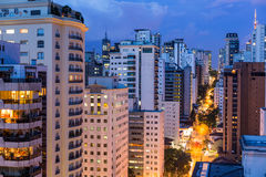 Evening in Sao Paulo. Tall buildings at evening in Sao Paulo Stock Images