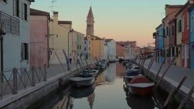 Evening scene of Burano island in Italy stock video footage