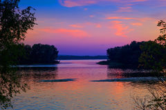 Evening scene on Dnipro river Royalty Free Stock Photo
