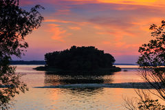 Evening scene on Dnipro river Royalty Free Stock Photography