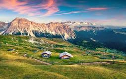 Evening scene in Gardena valley with Pizes de Cir mountain gange Stock Image