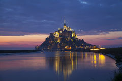 Evening scene of Mont Saint Michel Stock Photo