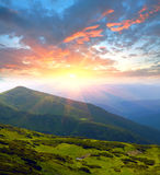 Evening scene in mountains Royalty Free Stock Photo