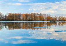 Evening scene of spring flood. River Sukhodrev, Kaluga region, Russia Royalty Free Stock Images