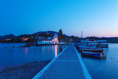 Evening scene of Vlacherna monastery and Pontikonisi island, Kan Stock Images