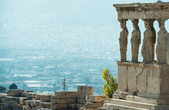 Caryatid porch in Acropolis. Morning view on the caryatid porch of the Erechtheon, the Ancient Greek temple in Acropolis, Athens, Greece Stock Image