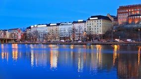 Evening scenery of Helsinki, Finland stock video