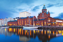 Evening scenery of Helsinki, Finland. Evening scenery of Uspenski Orthodox Cathedral Church in Katajanokka district of the Old Town in Helsinki, Finland stock images