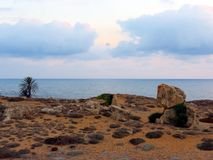 Evening sky above the coast of Cyprus. Evening scenery of the island of Cyprus in the Paphos area. Place for inspiration and dreams royalty free stock photo