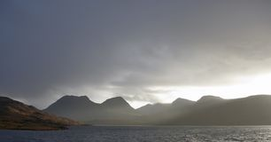 Evening scenery at Loch Bad a Gail. Scenery around Loch Bad a Gail in Scotland Stock Photo