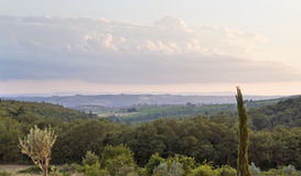 Evening scenery near San Regolo in Chianti Stock Photography