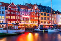 Evening scenery of Nyhavn in Copenhagen, Denmark Royalty Free Stock Photography