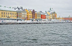 Evening scenery of the Old City of Stockholm in Sweden in winter Stock Images